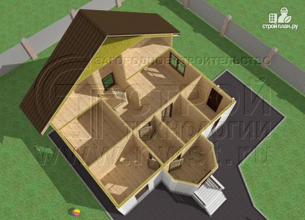 Фото 5: проект загородный дом 7х9 м с мансардой и лоджией в эркере