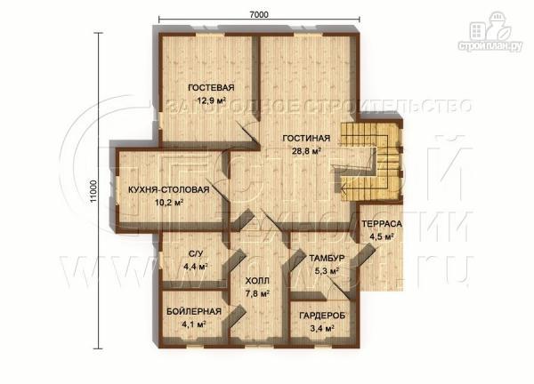 Фото 6: проект полутораэтажный коттедж 11х7 м
