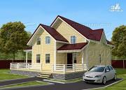 Проект загородный дом 8,5х8,5 м с длинной террасой