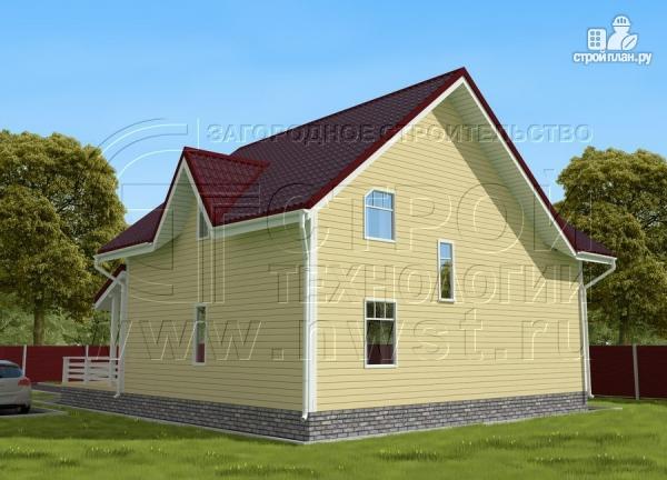 Фото 3: проект загородный дом 8,5х8,5 м с длинной террасой