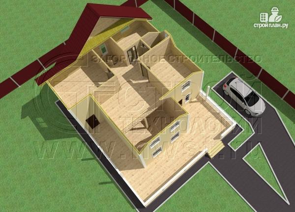 Фото 5: проект загородный дом 8,5х8,5 м с длинной террасой