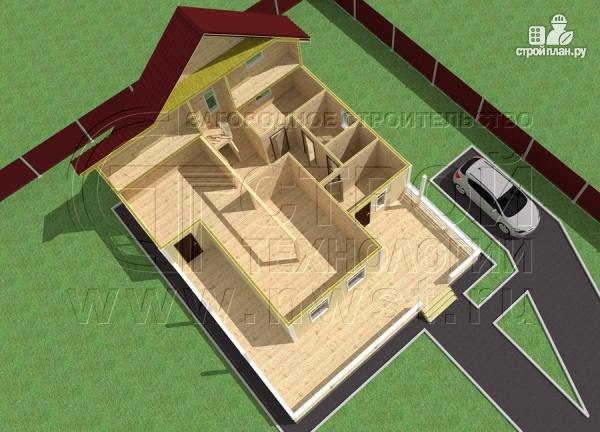 Фото 4: проект загородный дом 8,5х8,5 м с длинной террасой