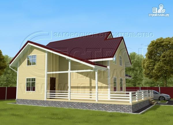 Фото 2: проект загородный дом 8,5х8,5 м с длинной террасой