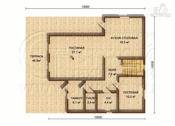 Фото 6: проект загородный дом 8,5х8,5 м с длинной террасой