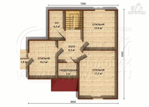Фото 7: проект загородный дом 7х7 м с мансардой и террасой