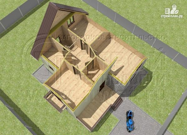 Фото 5: проект загородный дом 7х7 м с мансардой и террасой