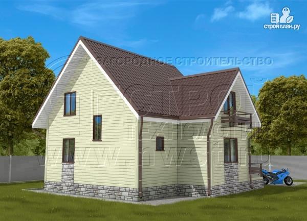 Фото 3: проект загородный дом 7х7 м с мансардой и террасой
