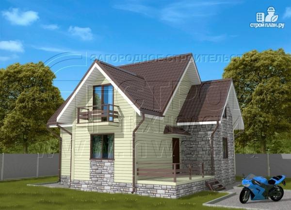 Фото: проект загородный дом 7х7 м с мансардой и террасой