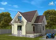 Фото: загородный дом 7х7 м с мансардой и террасой