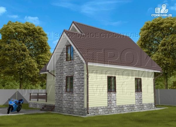 Фото 2: проект загородный дом 7х7 м с мансардой и террасой