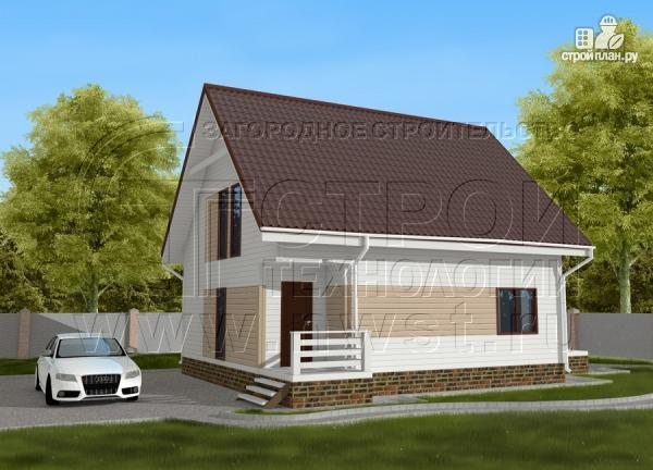 Фото 2: проект загородный дом 8х9 м с мансардой и террасой