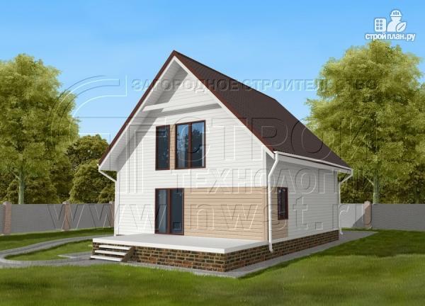 Фото: проект загородный дом 8х9 м с мансардой и террасой