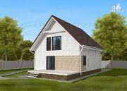 Фото: загородный дом 8х9 м с мансардой и террасой