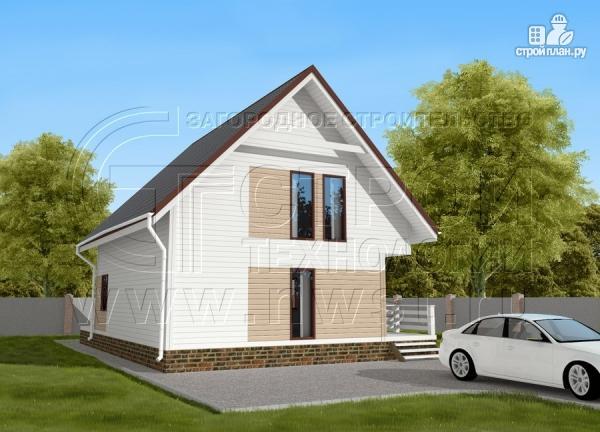 Фото 3: проект загородный дом 8х9 м с мансардой и террасой