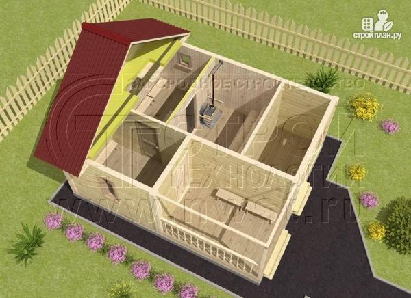 Фото 4: проект брусовая баня 5х6 с террасой