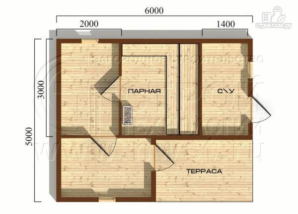 Фото 5: проект брусовая баня 5х6 с террасой