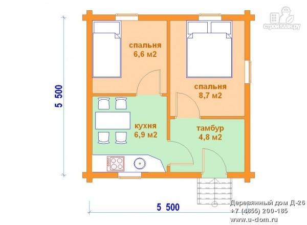 Фото 2: проект одноэтажный дом из оцилиндрованного бревна
