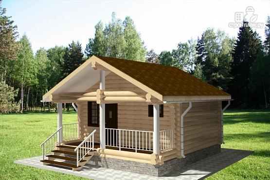 Фото 2: проект гостевой дом из оцилиндрованного бревна с террасой
