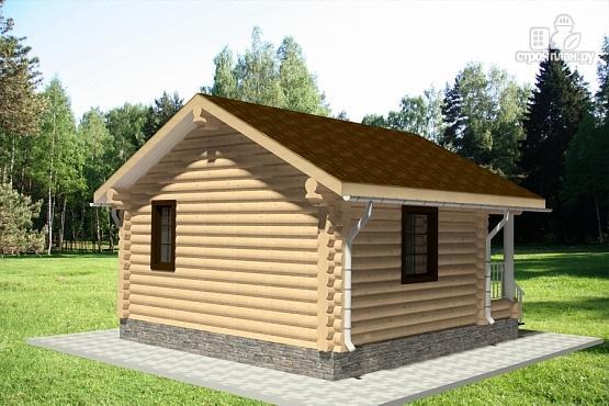 Фото 4: проект гостевой дом из оцилиндрованного бревна с террасой