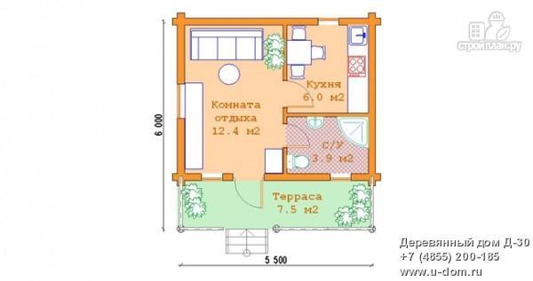 Фото 5: проект гостевой дом из оцилиндрованного бревна с террасой