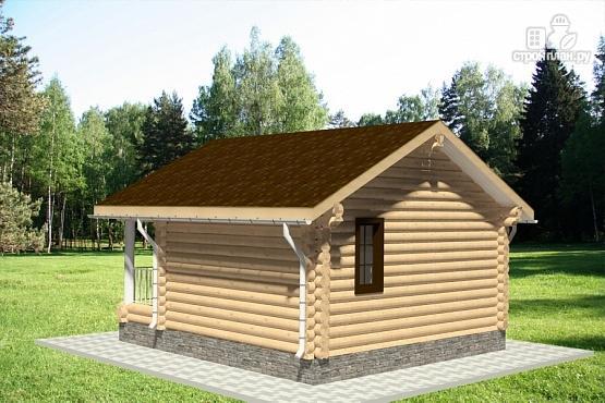 Фото 3: проект гостевой дом из оцилиндрованного бревна с террасой