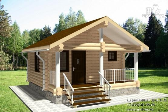 Фото: проект гостевой дом из оцилиндрованного бревна с террасой