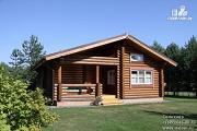 Фото: бревенчатый дом с террасой