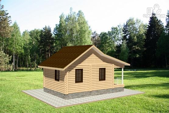 Фото 4: проект дом из бревна с террасой