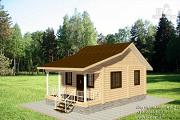 Проект дом из бревна с террасой