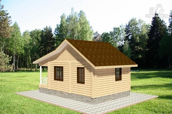 Фото 3: проект дом из бревна с террасой