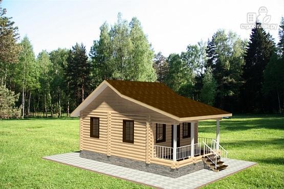 Фото 2: проект дом из бревна с террасой