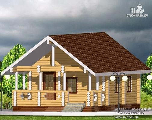 Фото: проект бревенчатый одноэтажный дом с террасой