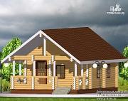 Проект бревенчатый одноэтажный дом с террасой