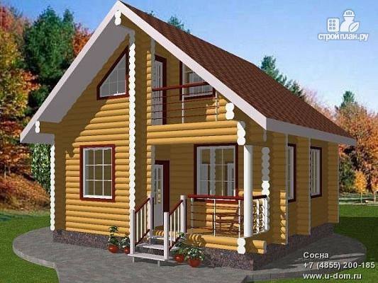 Фото: проект дом из бревна с балконом и парной