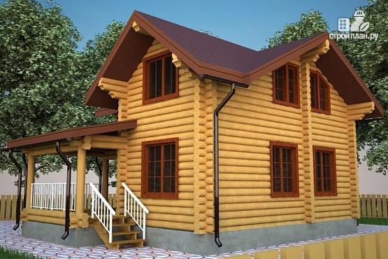 Фото 2: проект бревенчатый дом с террасой и мансардой