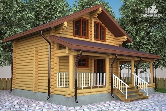 Фото 4: проект бревенчатый дом с террасой и мансардой