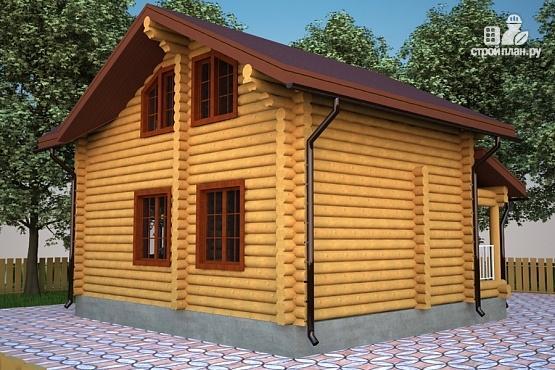 Фото 3: проект бревенчатый дом с террасой и мансардой