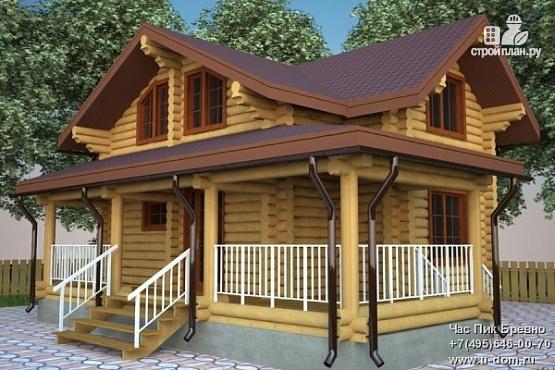 Фото: проект бревенчатый дом с террасой и мансардой