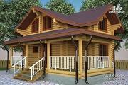 Фото: бревенчатый дом с террасой и мансардой