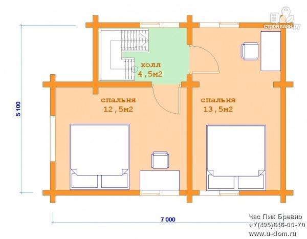 Фото 6: проект бревенчатый дом с террасой и мансардой