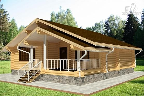 Фото 2: проект дом одноэтажный из бревна с террасой