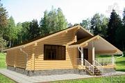 Фото: дом одноэтажный из бревна с террасой