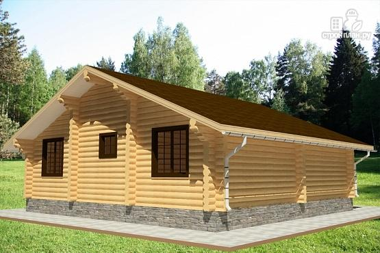 Фото 3: проект дом одноэтажный из бревна с террасой