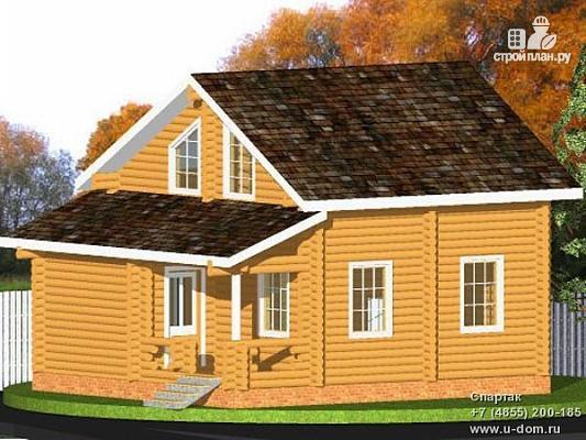 Фото: проект бревенчатый дом с мансардой и террасой