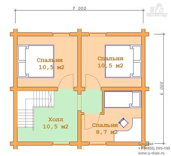 Фото 3: проект бревенчатый дом с мансардой и террасой