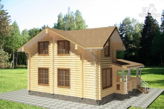 Фото 3: проект дом из бревна с большой террасой