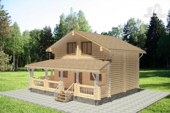 Фото 4: проект дом из бревна с большой террасой