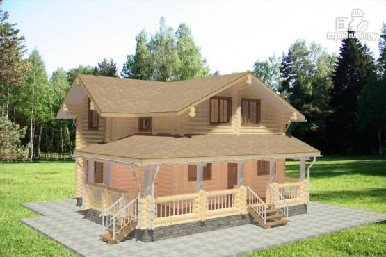Фото 2: проект дом из бревна с большой террасой