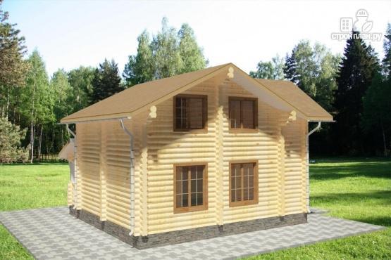 Фото 5: проект дом из бревна с большой террасой