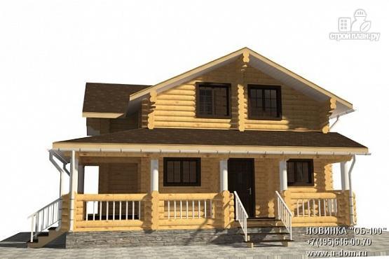 Фото: проект дом из бревна с большой террасой